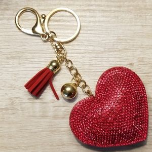 Red heart and gold tone keychain or purse charm
